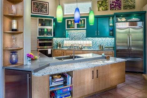 Contemporary kitchen with quartz countertops.